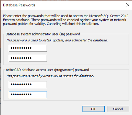 ArtiosCAD database passwords