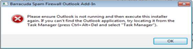 please ensure outlook is not running error