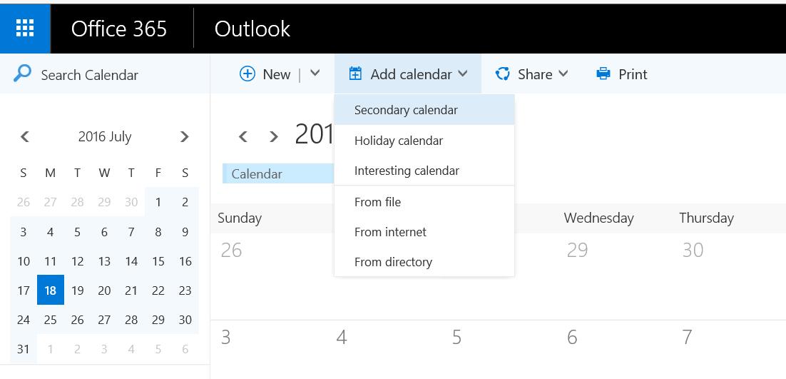 add calendars