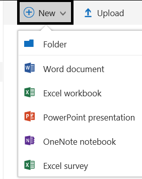 expanded selections in new option in onedrive
