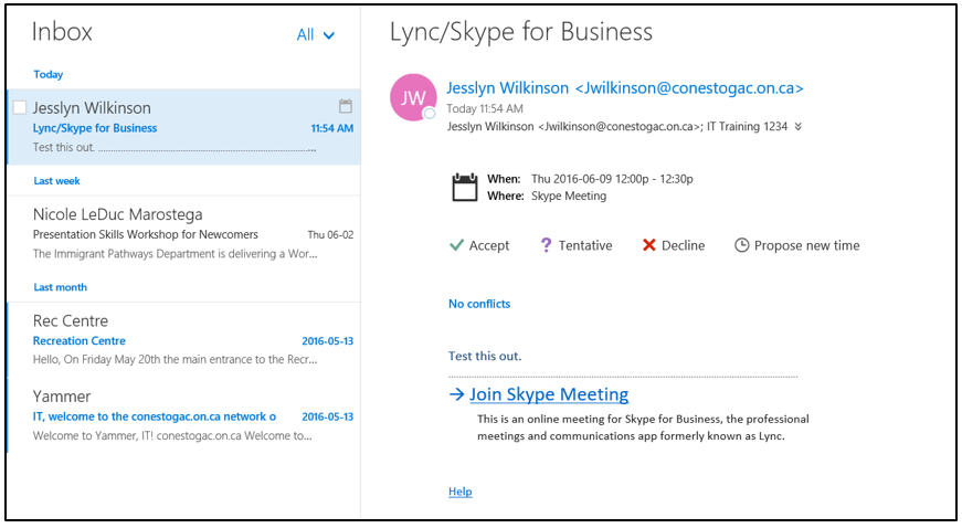 Lync (Skype for Business) | IT | Conestoga College