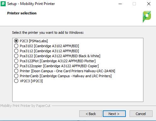 select mobility printer