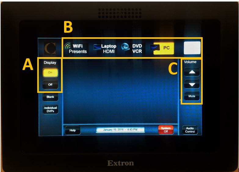 the podium - extron touch controls