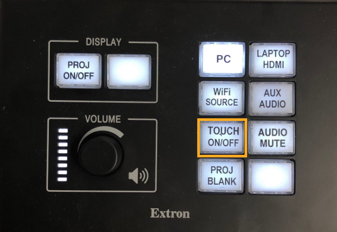 turn on touch interaction using touch on off button